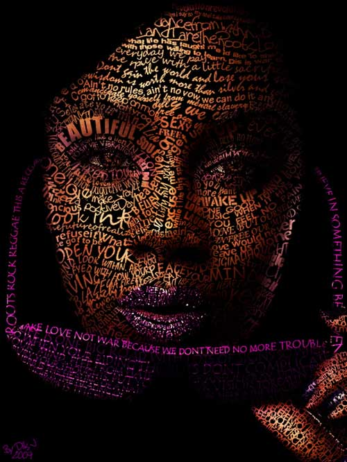 Typefaces Typography Portraits - Experimental Lyric Portrait by Cris Wicks