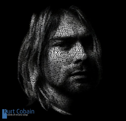 Typefaces Typography Portraits - Kurt Cobain by Juan Osborne