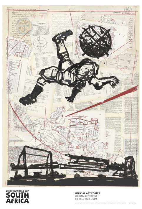 FIFA World Cup 2010 Official Art Posters - Bicycle Kick by William Kentridge