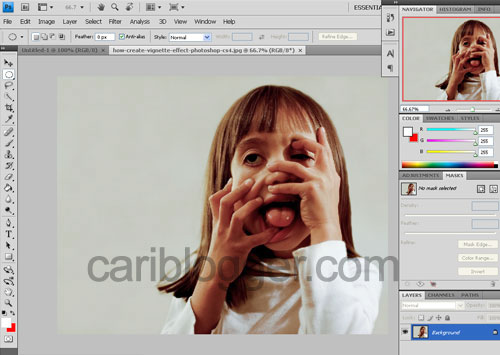 How to Create Vignette Effect in Photoshop - Step 1
