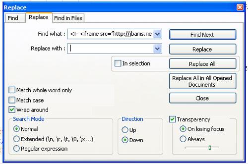 Remove and Clean HTML/Framer Virus