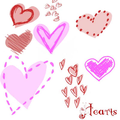 Free Doodle Photoshop Brushes - Two Tone Hearts by Circle of Fire