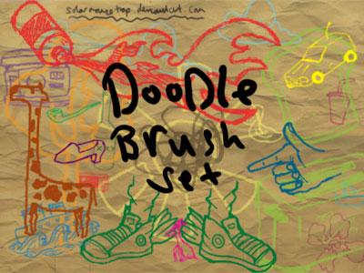 Free Doodle Photoshop Brushes - Doodle Brush Set by Solarmousetrap