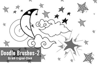 Free Doodle Photoshop Brushes - Doodle Brush Pack 2 by AJK-Original-Stock
