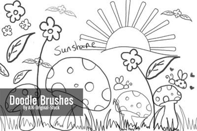 Free Doodle Photoshop Brushes - Doodle Brush pack by AJK-Original-Stock