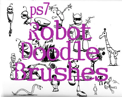 Free Doodle Photoshop Brushes - Robot Doodle Brushes by Sevynstarr
