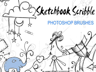 Free Doodle Photoshop Brushes - Sketchbook Scribble Brushes by InvisibleSnow