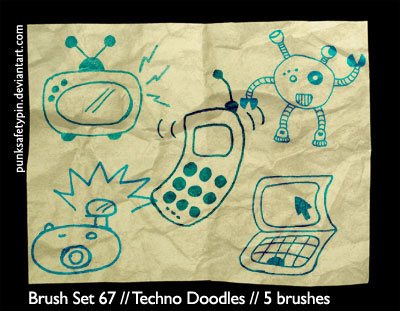 Free Doodle Photoshop Brushes - Techno Doodles by Punksafetypin