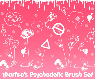 Free Doodle Photoshop Brushes - Mariko's Psychedelic Brush Set by Mistress Mariko