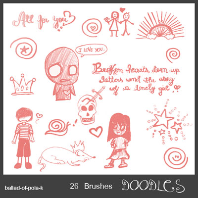 Free Doodle Photoshop Brushes - Doodles by Ballad-of-Pola-K