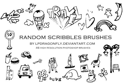 Free Doodle Photoshop Brushes - Random Scribbles Brushes by lpdragonfly