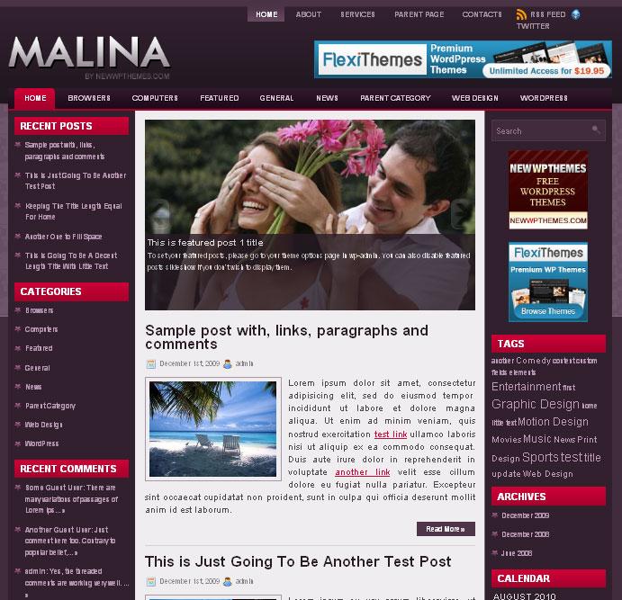 High Quality Magazine Style WordPress Theme - Malina