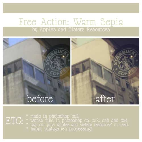 Download Free Sepia Tone Photoshop Action by LalaM