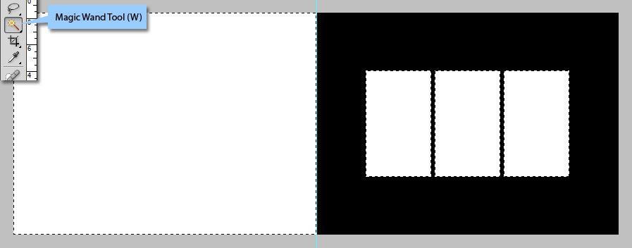Select all white boxes using Magic Wand Tool (W)