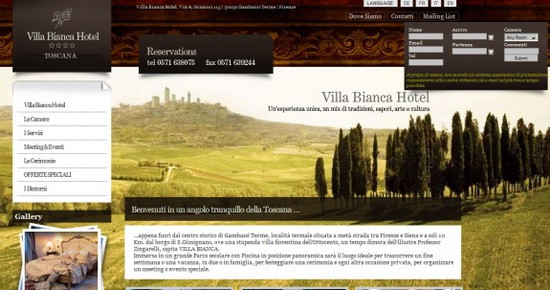 Hotel Web Design Round Ups - Villa Bianca Hotel Italy