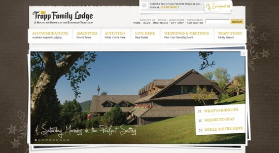 Hotel Web Design Round Ups - Trapp Family Lodge