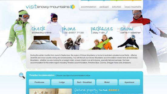 Hotel Web Design Round Ups - Snowy Mountains Resort