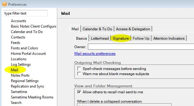 Step 2: Click Mail and Signature Tab