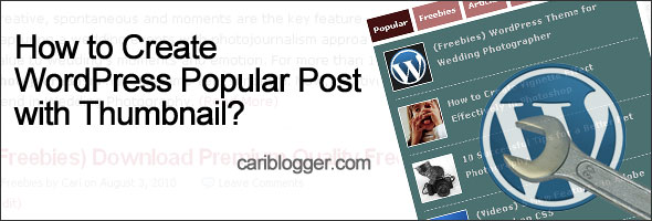 How to create wordpress popular post with thumbnail