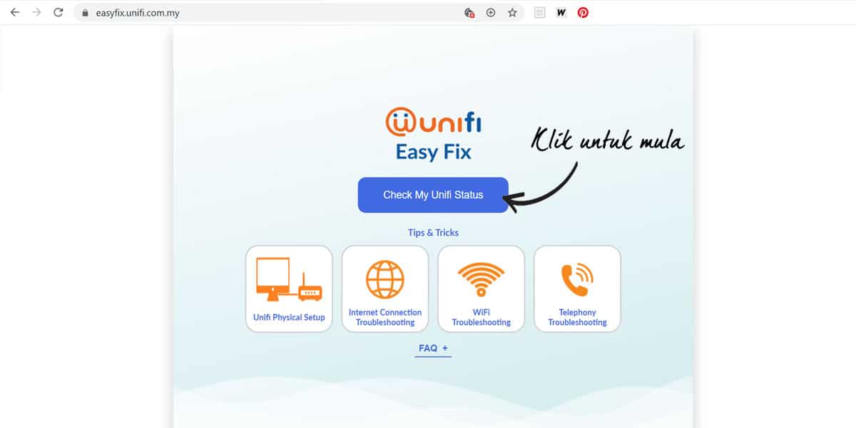 Cara Troubleshoot Unifi Guna EasyFix Step 1