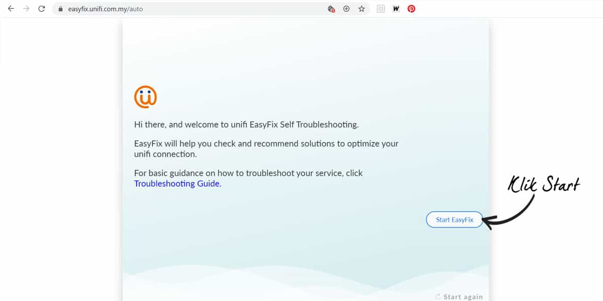 Cara Troubleshoot Unifi Guna EasyFix Step 2